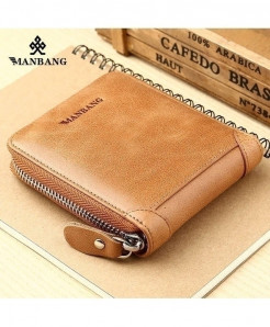ManBang Camel Brown Leather Zipper Wallet