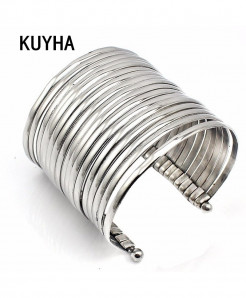 KUYHA Big Design Stainless Steel Cuff Bangles