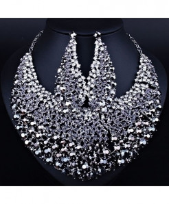 FARLENA Black Elegant Crystal Rhinestones Jewelry Set