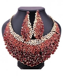 FARLENA Red Elegant Crystal Rhinestones Jewelry Set