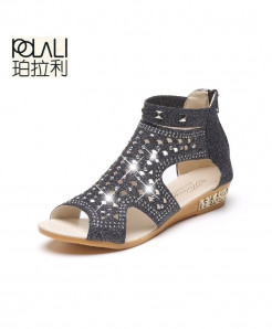 POLAL Black Rome Summer Gladiator Sandal