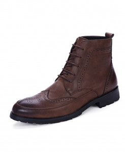 Misalwa Brown PU Leather Ankle British Style Boots