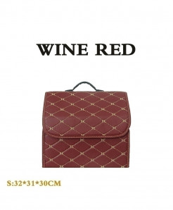 Wine Red Car trunk Heavy PU leather Stowing Tidying