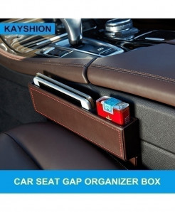 Brown Leather Crevice Storage Box Multi-Purpose Gap Organizer