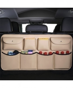 Beige Leather Car Trunk Storage Bag Multi-use Stowing Tidying