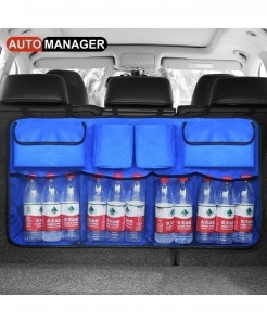 AUTO MANAGER Blue Car Trunk Organizer Backseat Storage