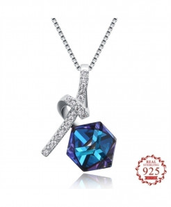 Blue Crystal Elements Diamond Shaped 925 Sterling Pendant
