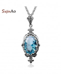 Szjinao Classic Oval Aquamarine Vintage 925 Sterling