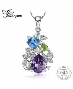 JewelryPalace Flower Amethyst Sky Blue Topaz Triangle Pendant