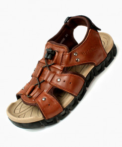 Brown Cross Lace Design Casual Sandal DR-715