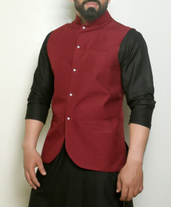 Plain Brown Button Stylish Waistcoat ARK-992