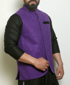 Plain Purple Button Stylish Waistcoat ARK-993