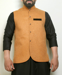 Plain Biscuity Button Stylish Waistcoat ARK-995