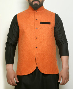 Plain Orange Button Stylish Waistcoat ARK-996