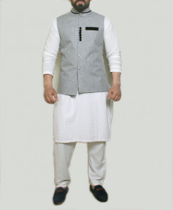 Gray Button Design Stylish Suit ARK-1003 (3pc)