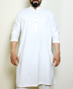 Plain White Stylish Design Kurta ARK-1016