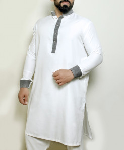 Plain White Gray Stylish Design Kurta ARK-1017