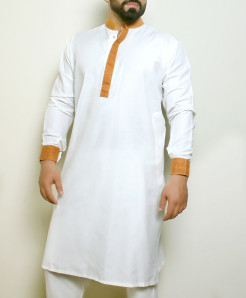 Plain White Green Stylish Design Kurta ARK-1018