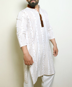 Plain White Dark Green Stylish Design Kurta ARK-1019