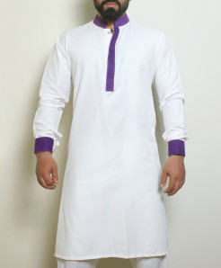 Plain White Blue Stylish Design Kurta ARK-1021