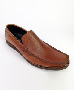 Mustard Brown Leather Slip ON Loafer Shoes LC-347