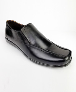 Black Leather Slip ON Shoes LC-350