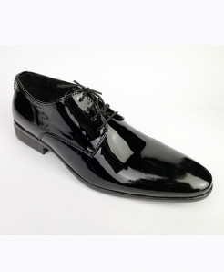 Black Patent Leather Lace Up Shoes LC-354