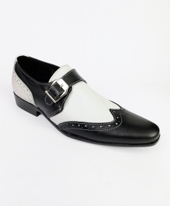 Black And White Leather Side Buckle Shoes LC-355