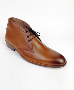 Mustard Brown High Ankle All Leather Shoes LC-356