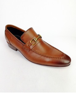 Mustard Brown All Leather Buckle Shoes LC-359