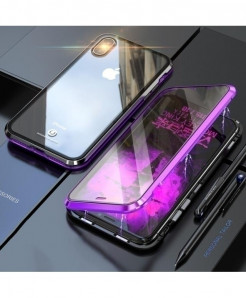 BOBYT Black Purple Metal Bumper Tempered Glass Case