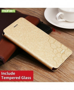 Mofi Gold Silicone Flip Leather Hard Case (Tempered Glass)