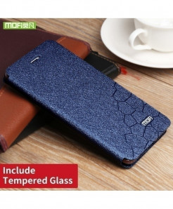 Mofi Blue Silicone Flip Leather Hard Case (Tempered Glass)