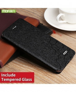 Mofi Black Silicone Flip Leather Hard Case (Tempered Glass)