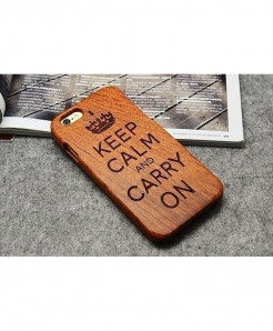LYBALL Keep Calm Crown Wooden Phone Case For iPhone