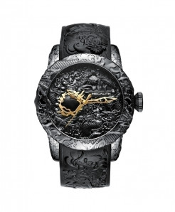 MEGALITH Black Waterproof Dragon Sculpture Watch
