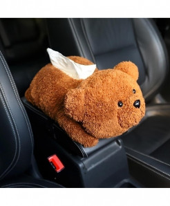 Younar Brown Bear Universal Car Armrest Box Tissue Box