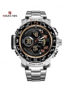 Mizums Silver Orange Waterproof Led Digital Quartz Watch