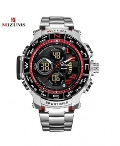 Mizums Silver Red Waterproof Led Digital Quartz Watch