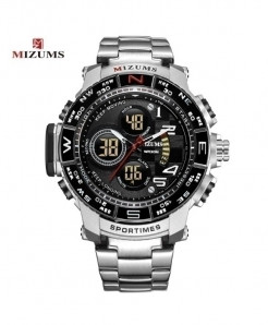 Mizums Silver Waterproof Led Digital Quartz Watch