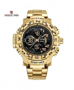 Mizums Golden Waterproof Led Digital Quartz Watch