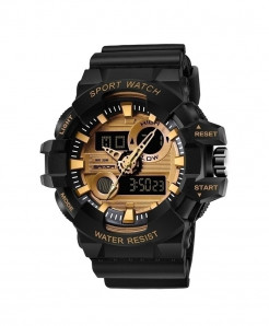 SANDA Black Gold Military Waterproof Quartz Watch