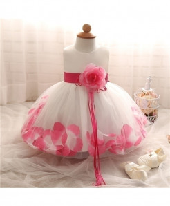 Fairy Petals Flower Pink Baptism Baby Girl Dress