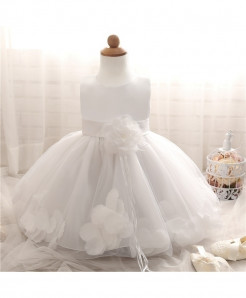 Fairy Petals Flower White Baptism Baby Girl Dress
