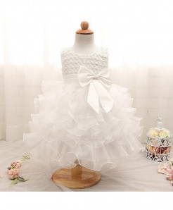 Ai Meng Baby White Baby Girl Summer Christening Gown Dress