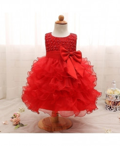 Ai Meng Baby Red Baby Girl Summer Christening Gown Dress