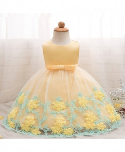 Ai Meng Baby Cream Baby Girl Summer Christening Gown Dress