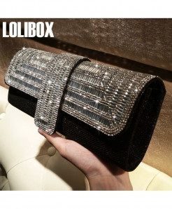 LOLIBOX Women Clutch Rhinestone Sparkly Ladies Party Clutch
