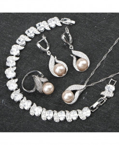 Costume Freshwater Natural Pearl 925 Silver Jewelry Set