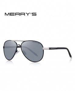 MERRYS Silver Classic Pilot HD Polarized Sunglasses